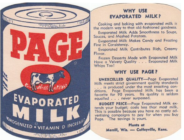 Page Evaporated Milk Advertisement
