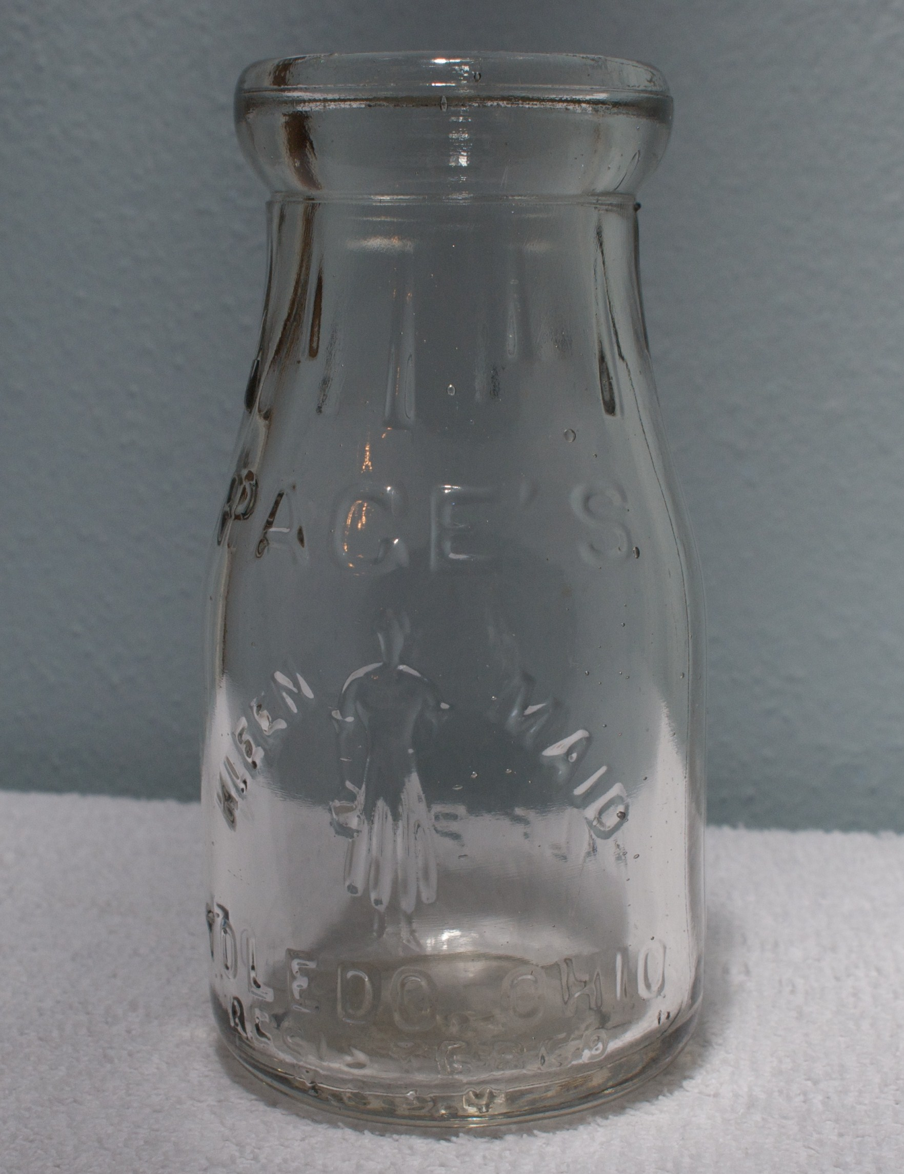 Embossed Pages Kleen-Maid Half Pint Milk Bottle 1920s