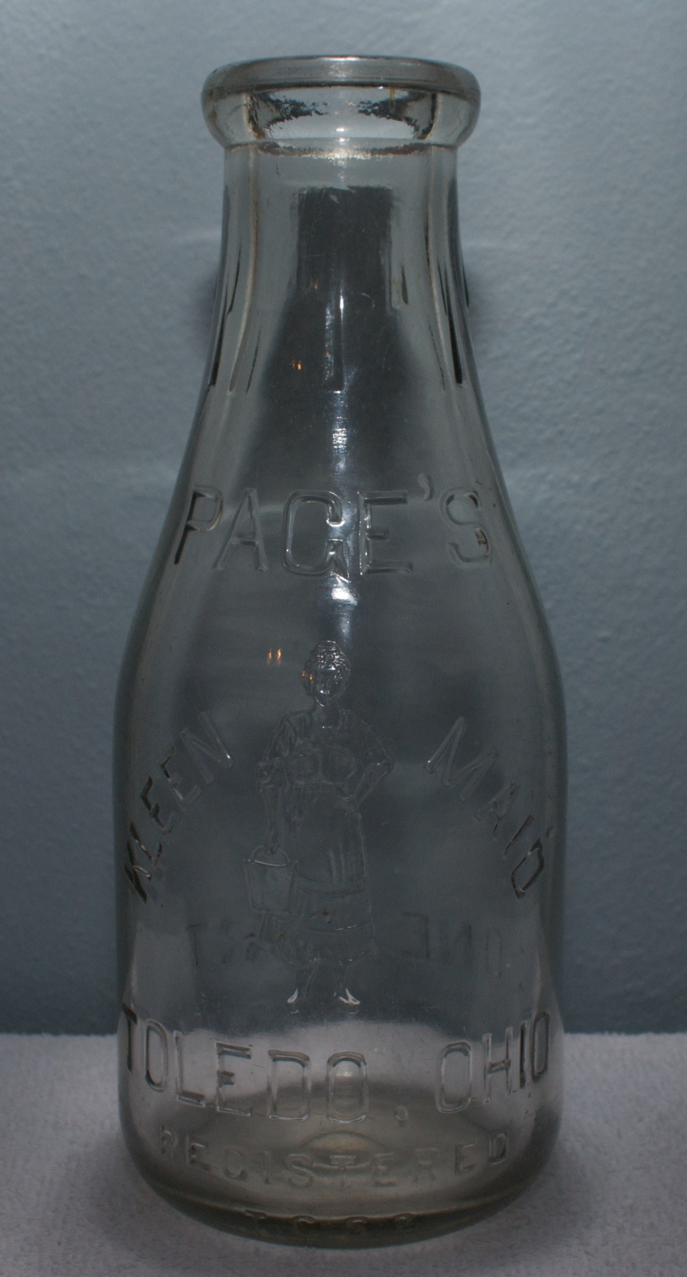 Embossed Pages Kleen-Maid Quart Milk Bottle 1920s