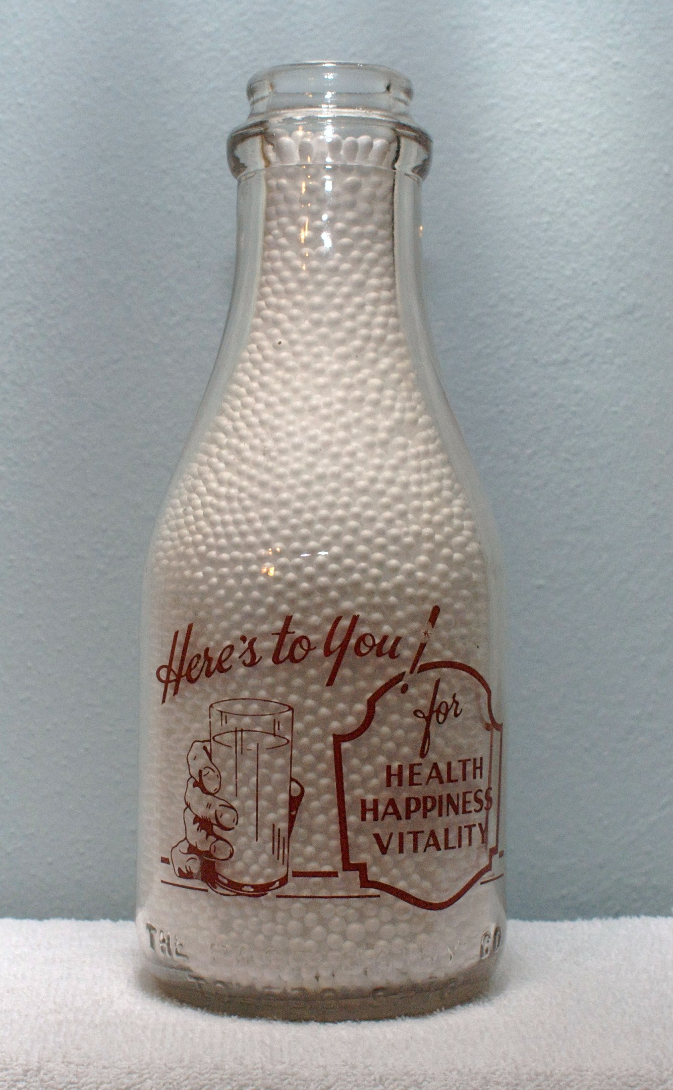 Limited Edition Pages Quart Milk Bottle 1930-1940s Demanded for its Quality back Here\'s to You!