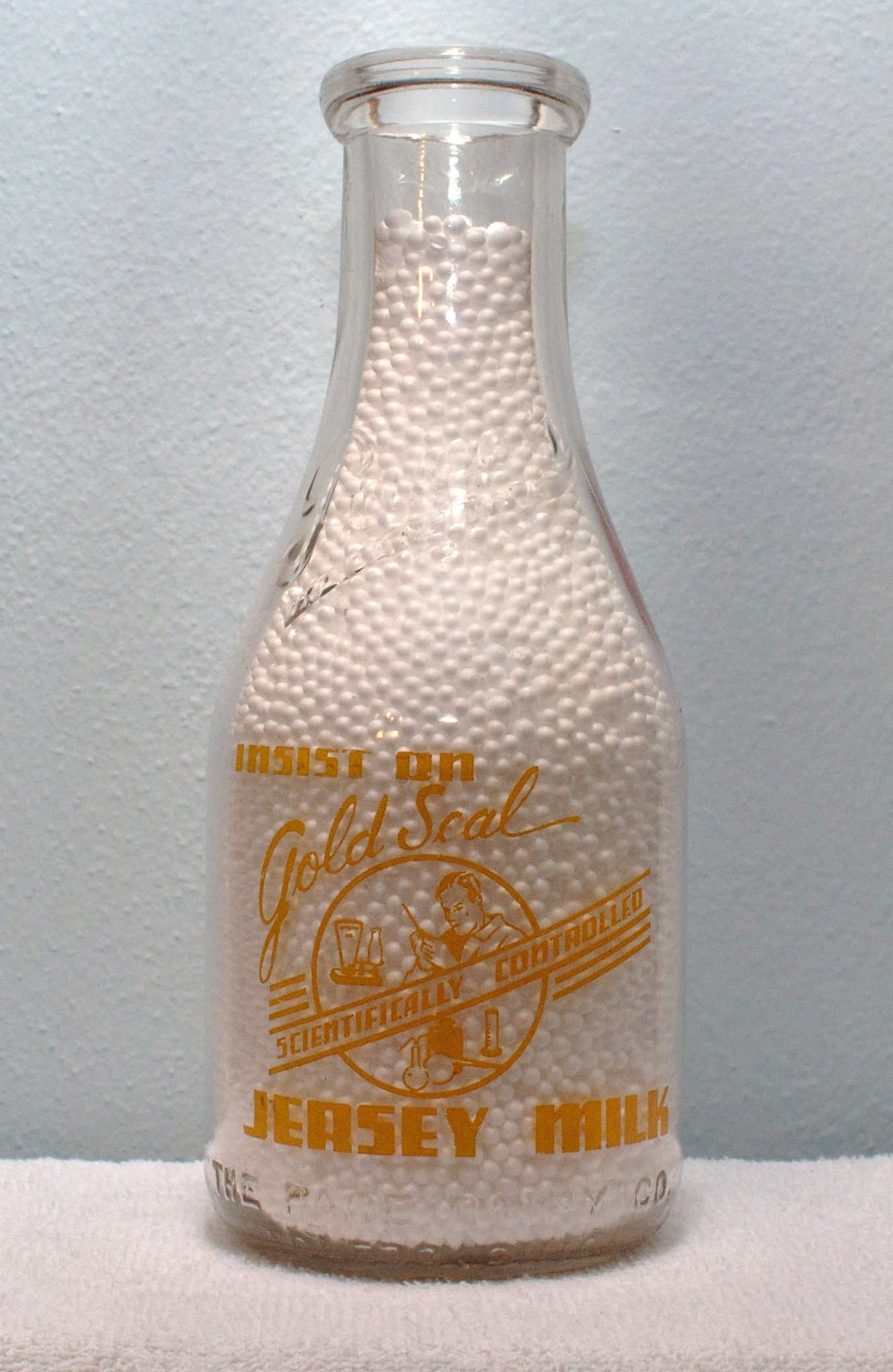 Limited Edition Pages Quart Milk Bottle 1940s Gold Seal Jersey Milk
