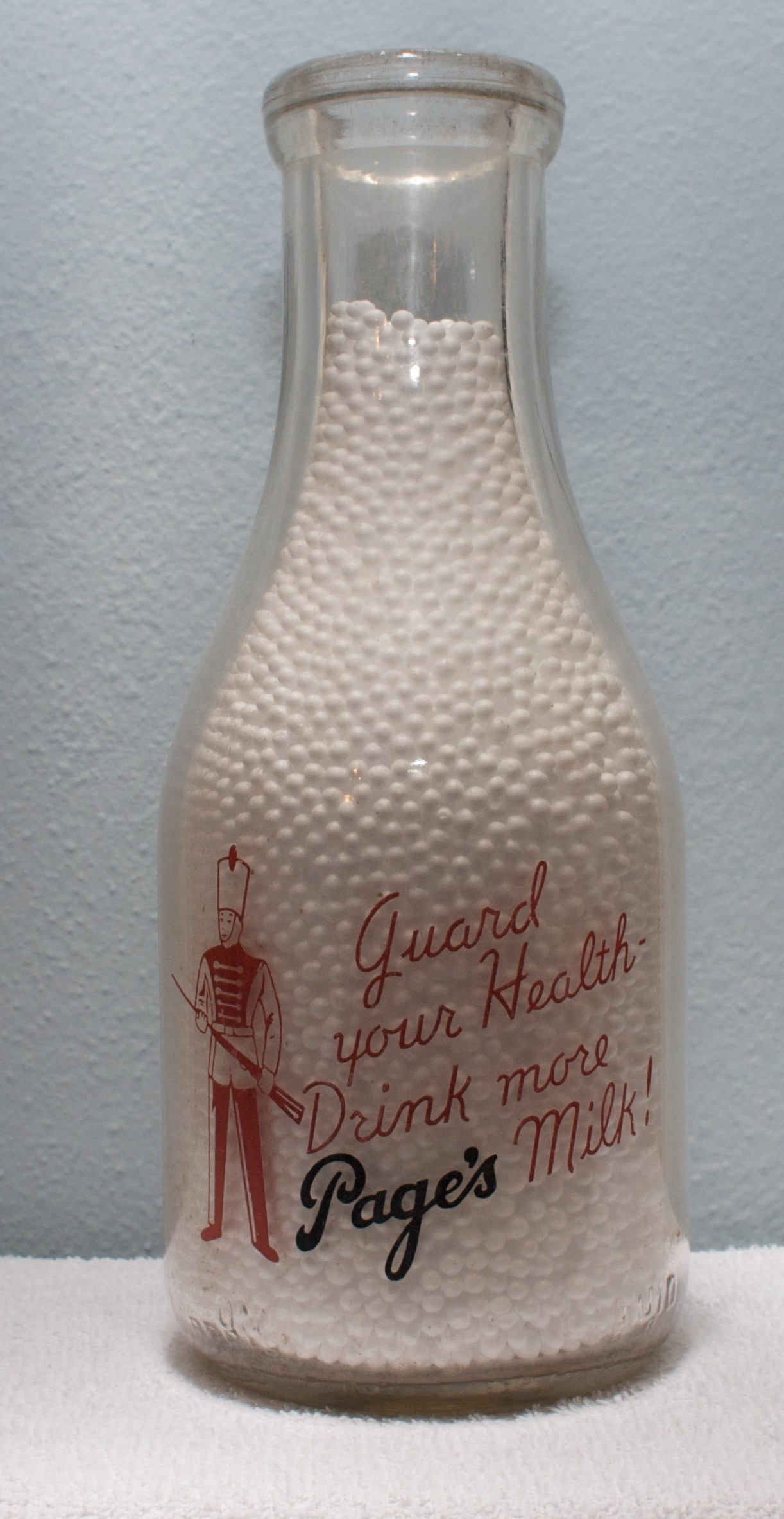 Limited Edition Pages Quart Milk Bottle 1940s Guard Your Health Drink More Page\'s Milk