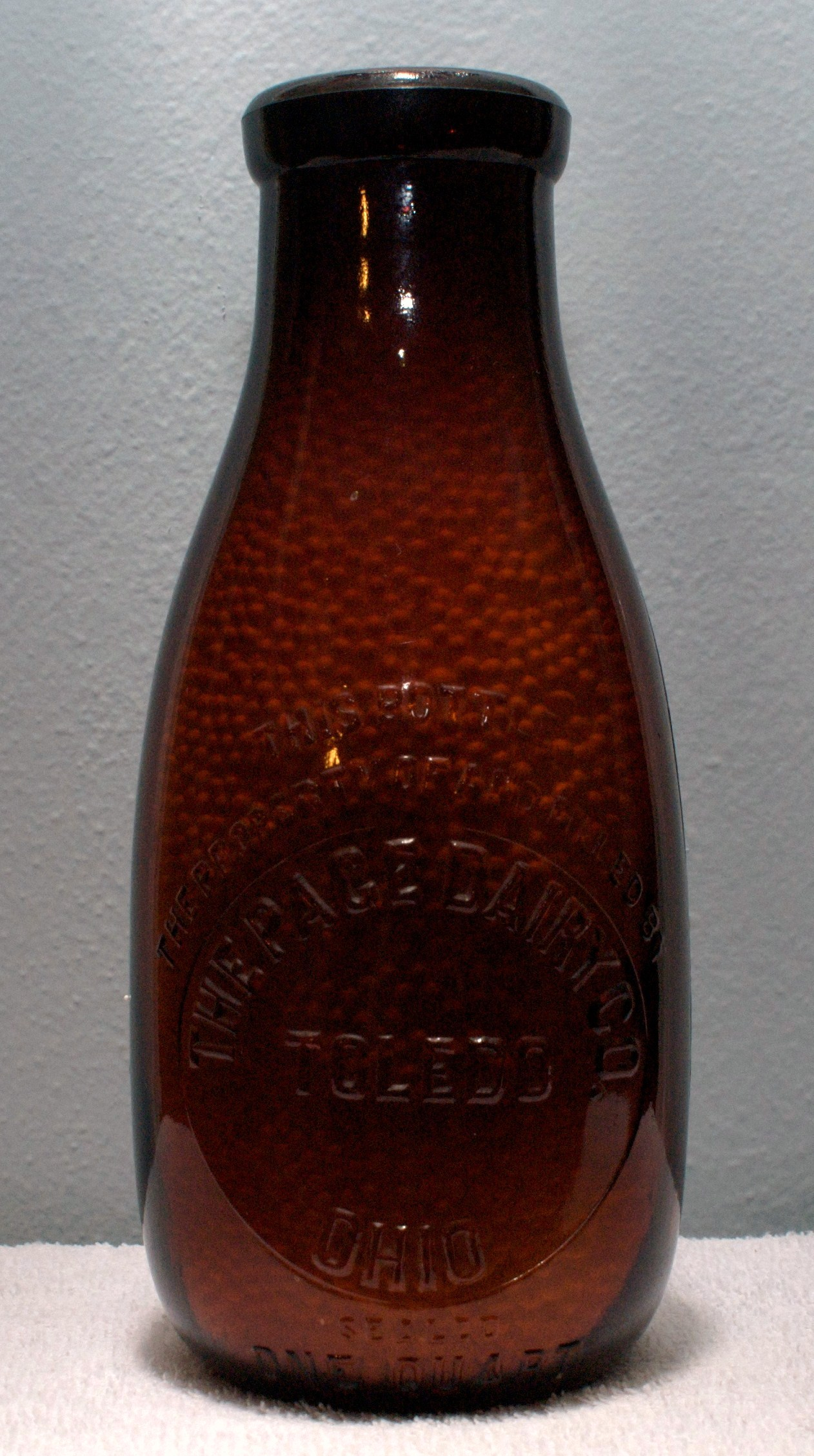 Page Quart Buttermilk Brown Bottle 1910s