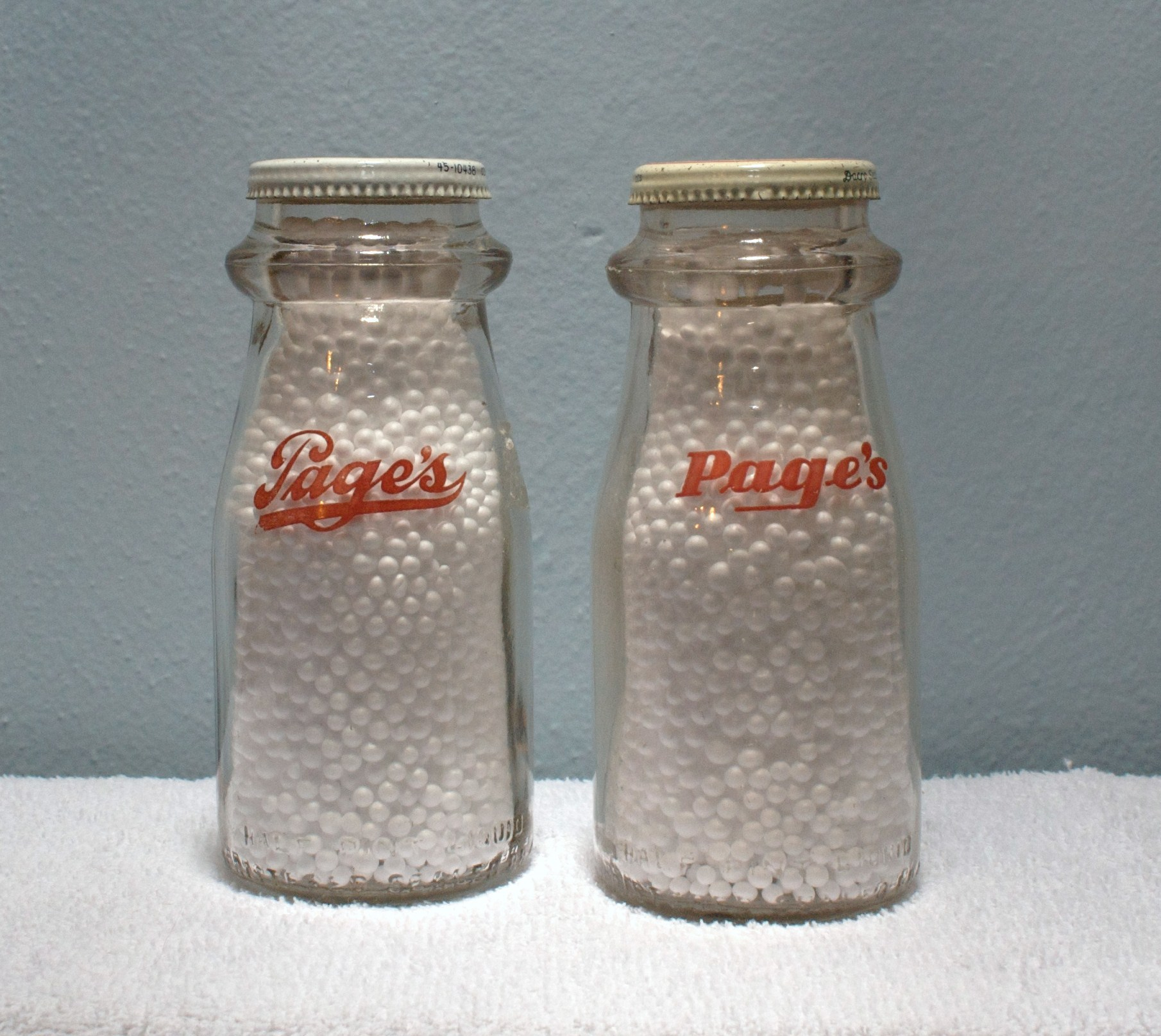 Pages Half-Pint Milk Bottle Late 1940s Old and New Red Logo