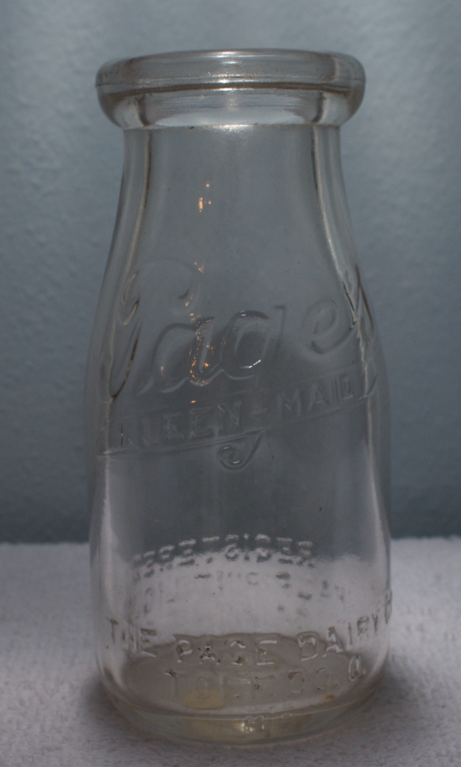 Pages Kleen-Maid Half-Pint Milk Bottle 1930s with Larger Page Name on Bottom