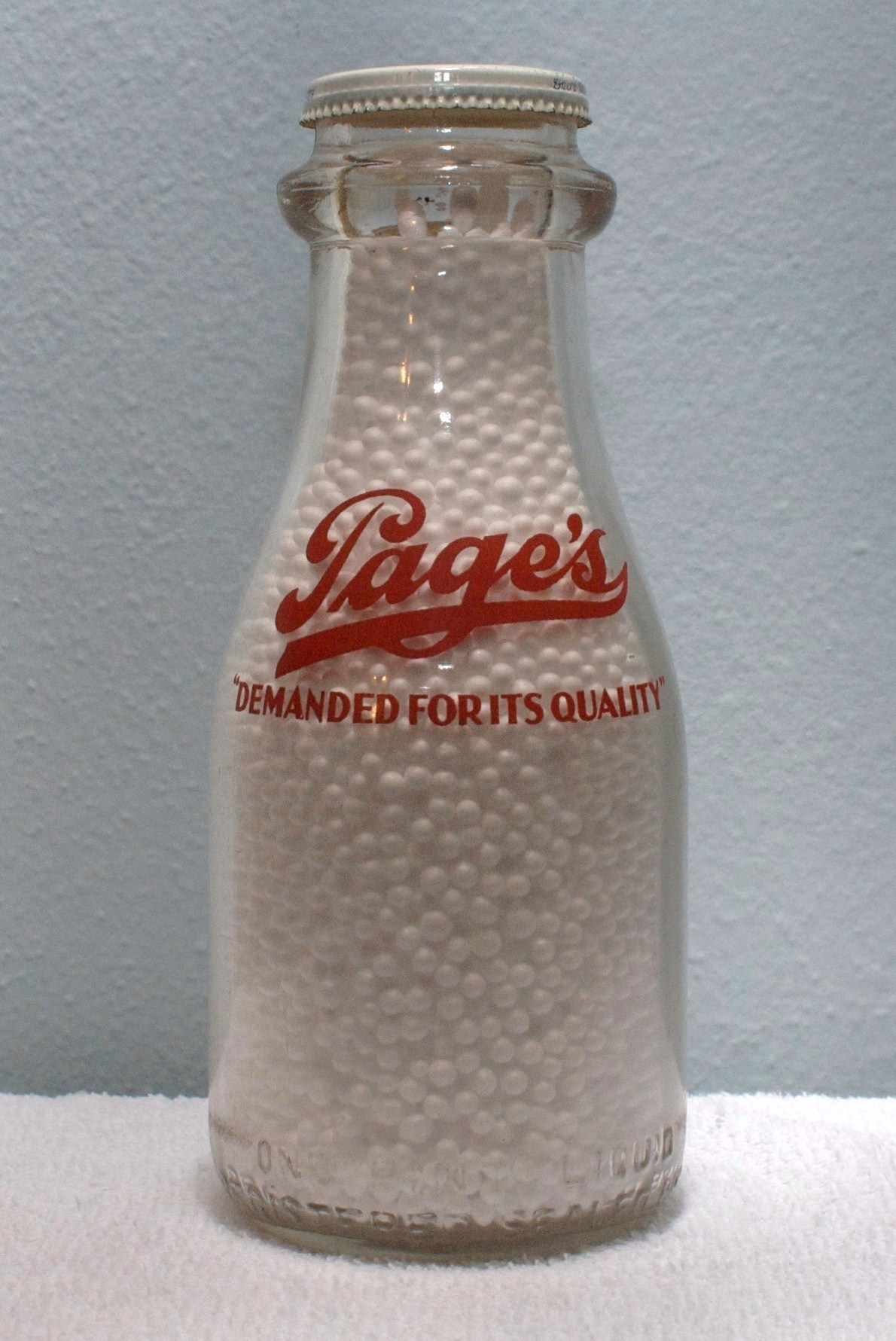 Pages Pint Milk Bottle Mid to Late 1940s Red Logo