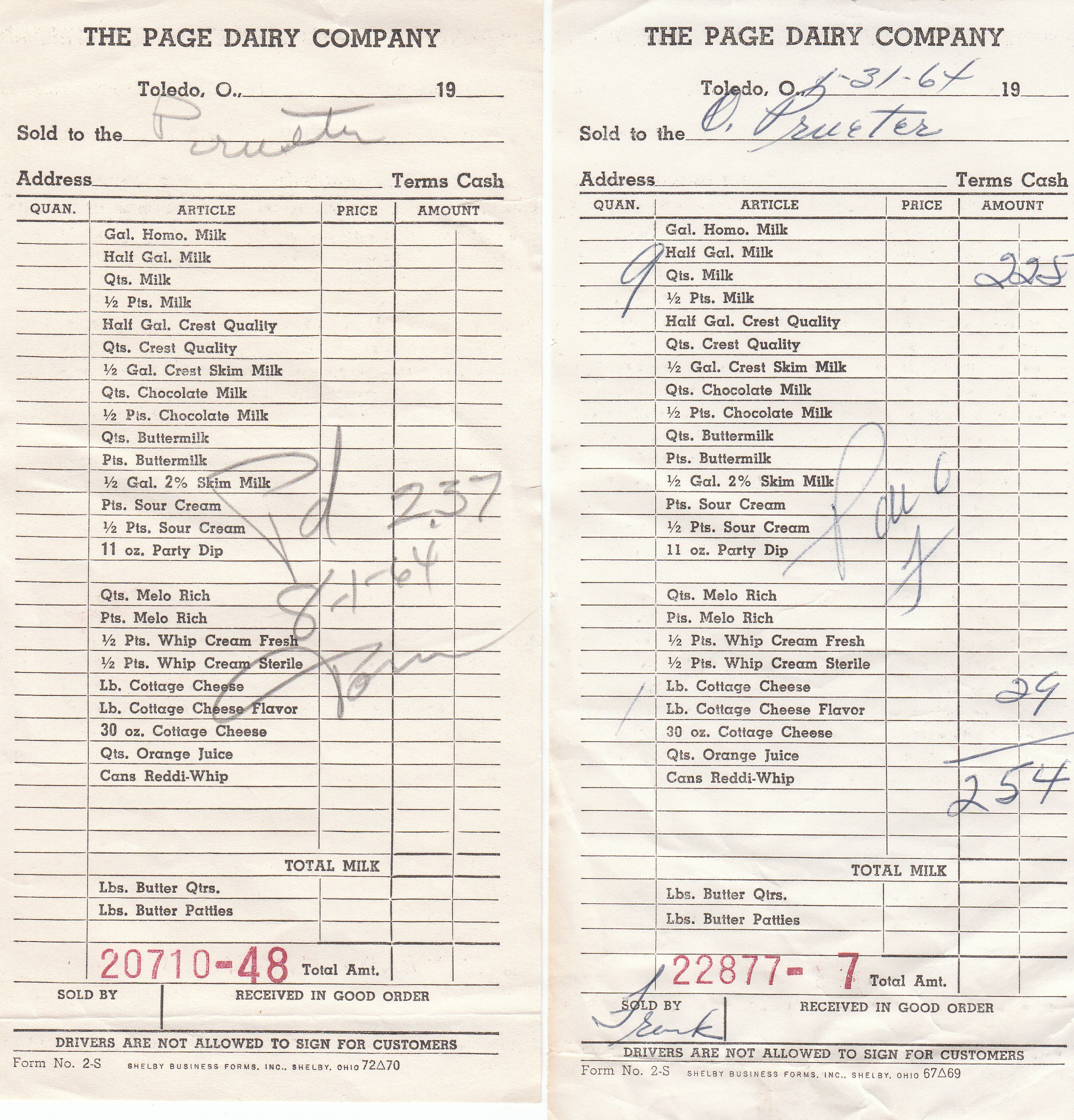 Home Delivery Receipts 1964