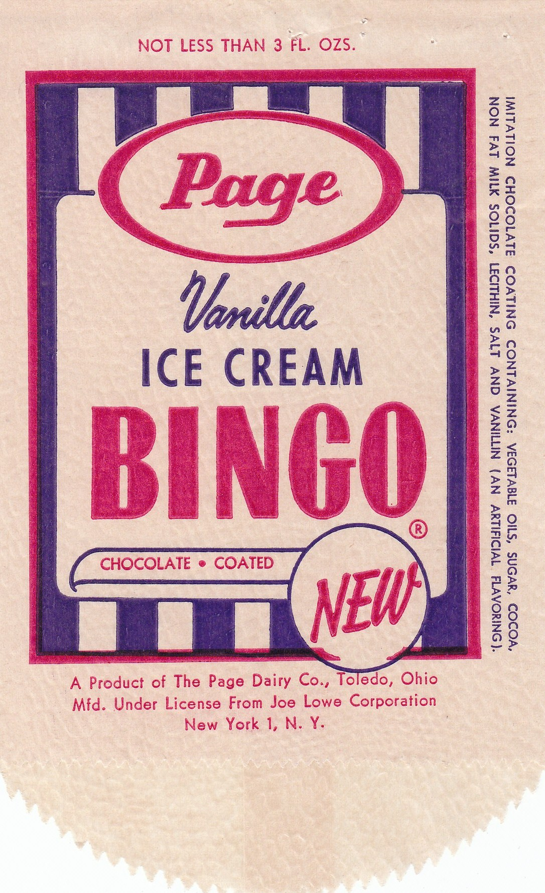 Ice Cream Bingo Wrapper