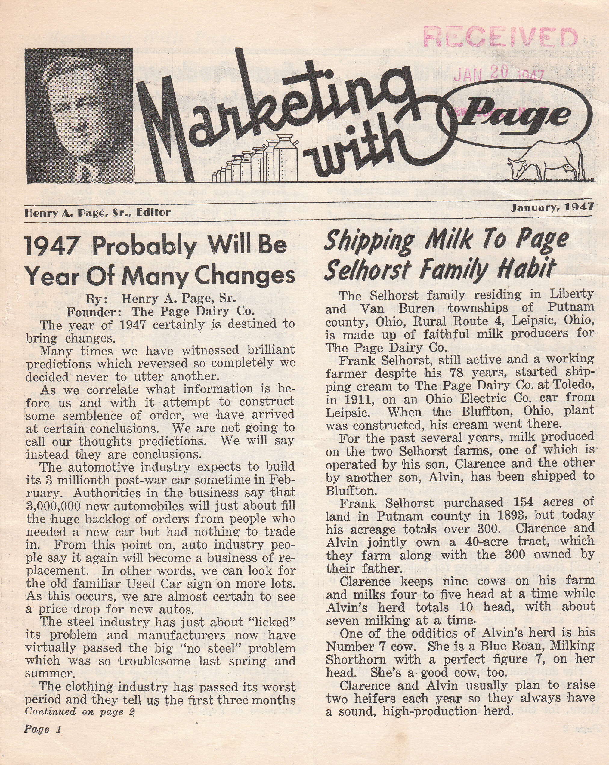 Marketing with Page January 1947