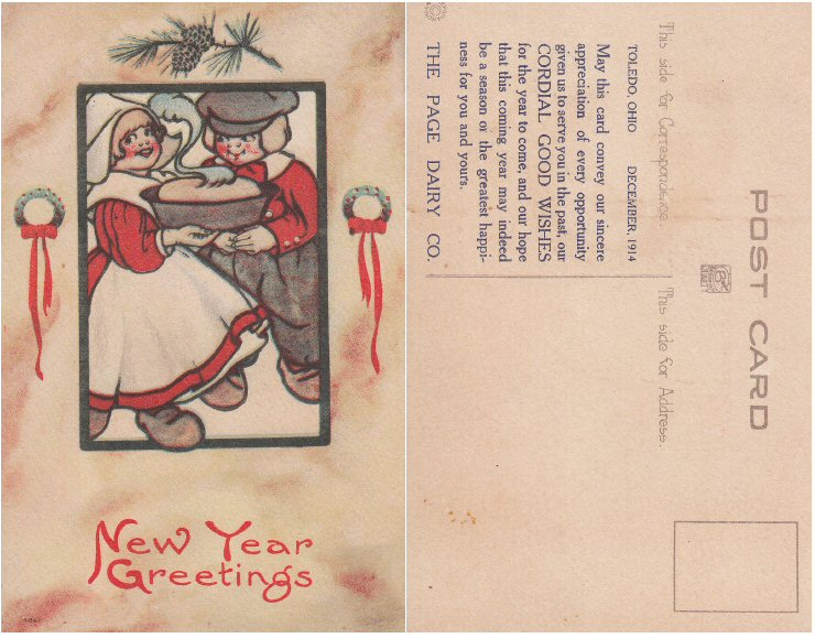 New Years Greeting Postcard December 1914