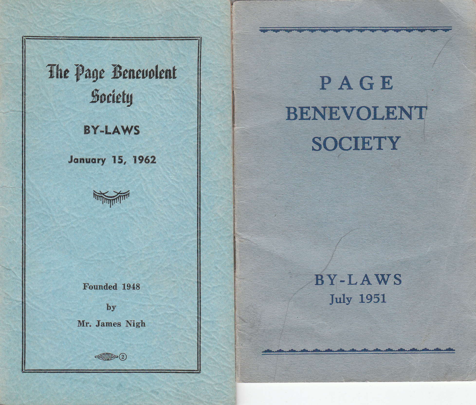 Page Benevolent Society By-Laws 1951 and 1962