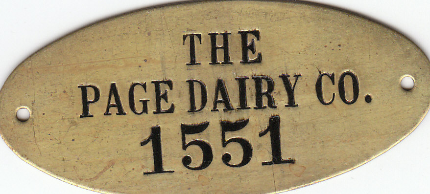 Page Dairy Brass Tag