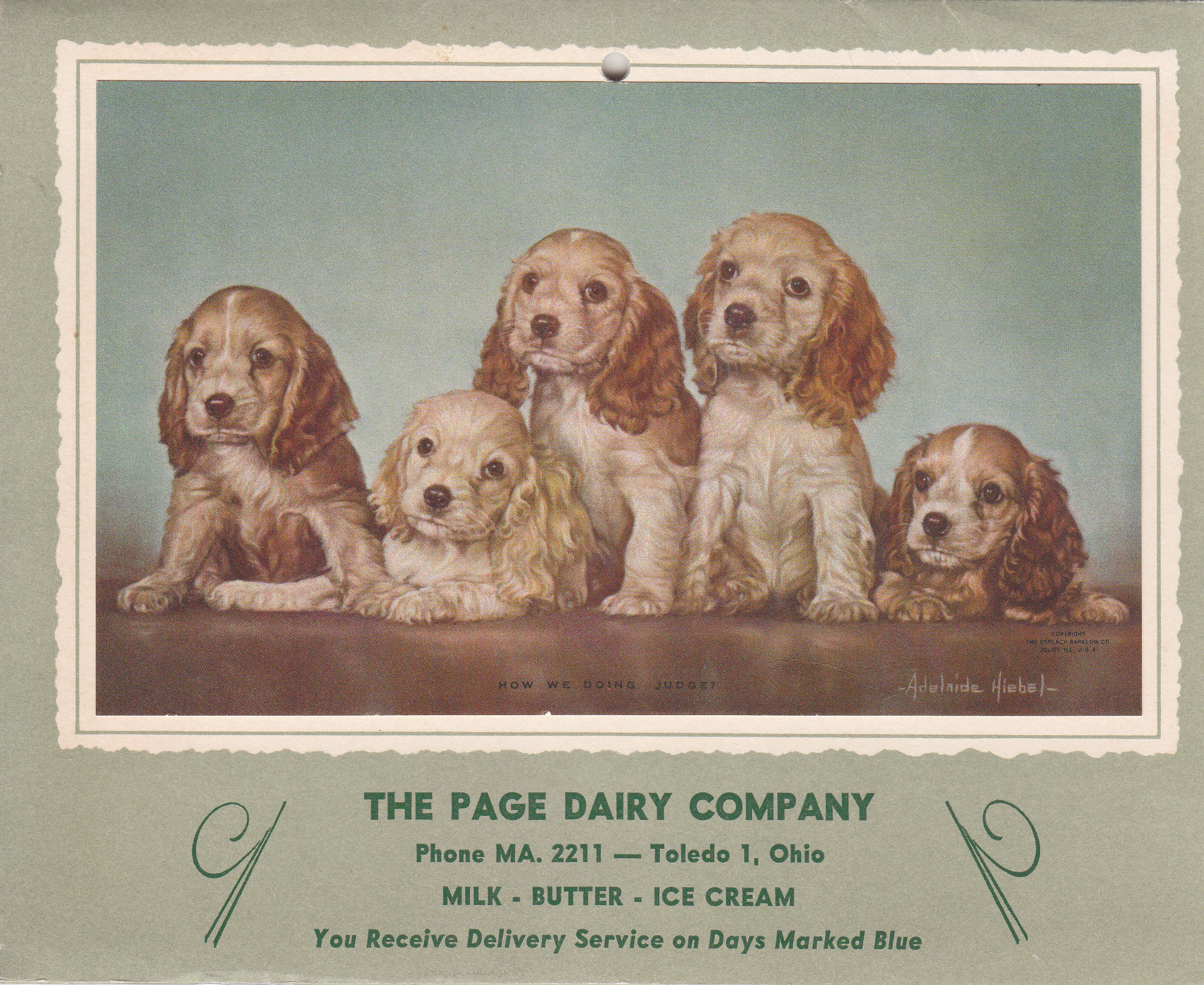 Page Dairy Calendar 1955