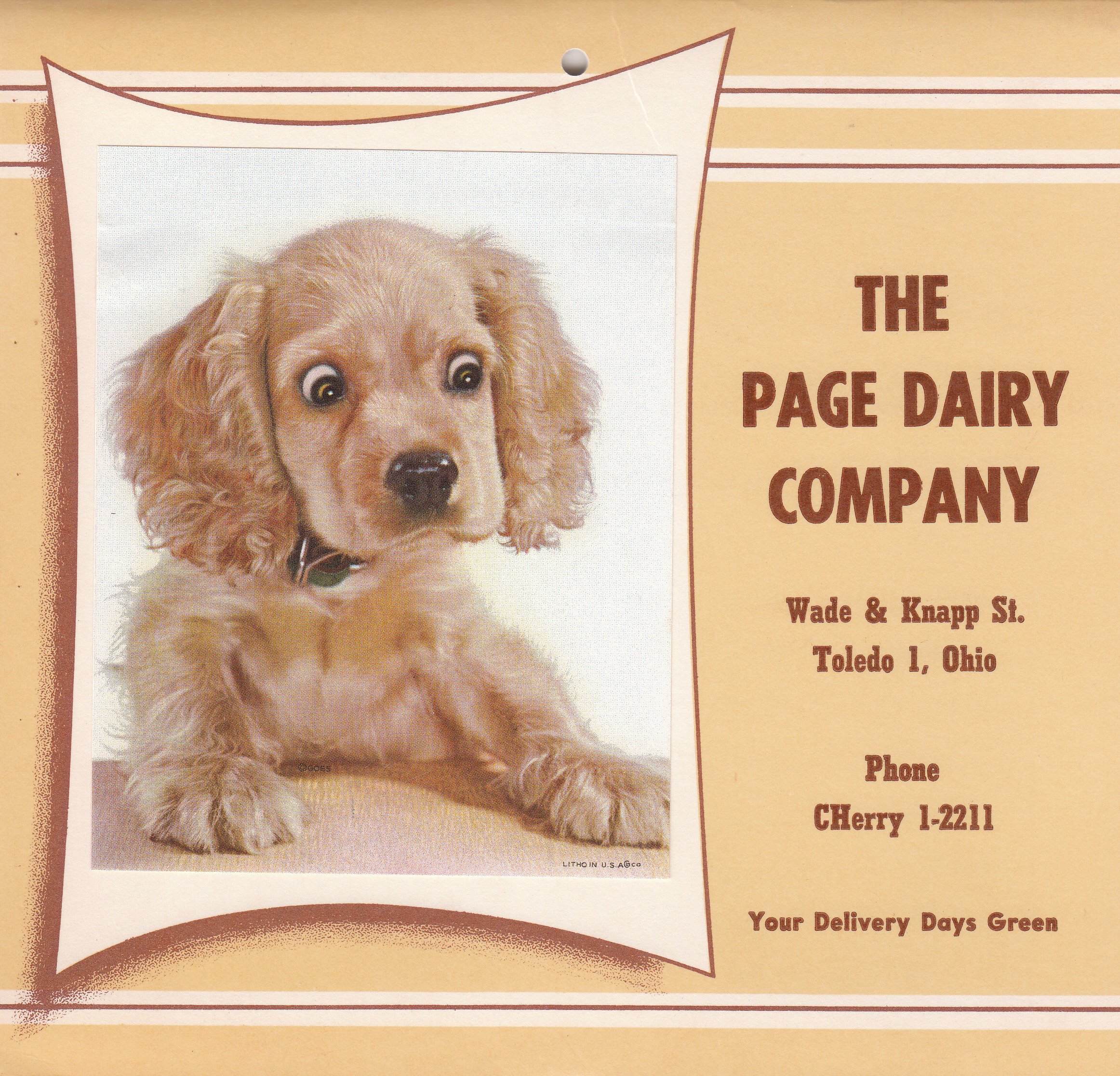 Page Dairy Calendar 1960