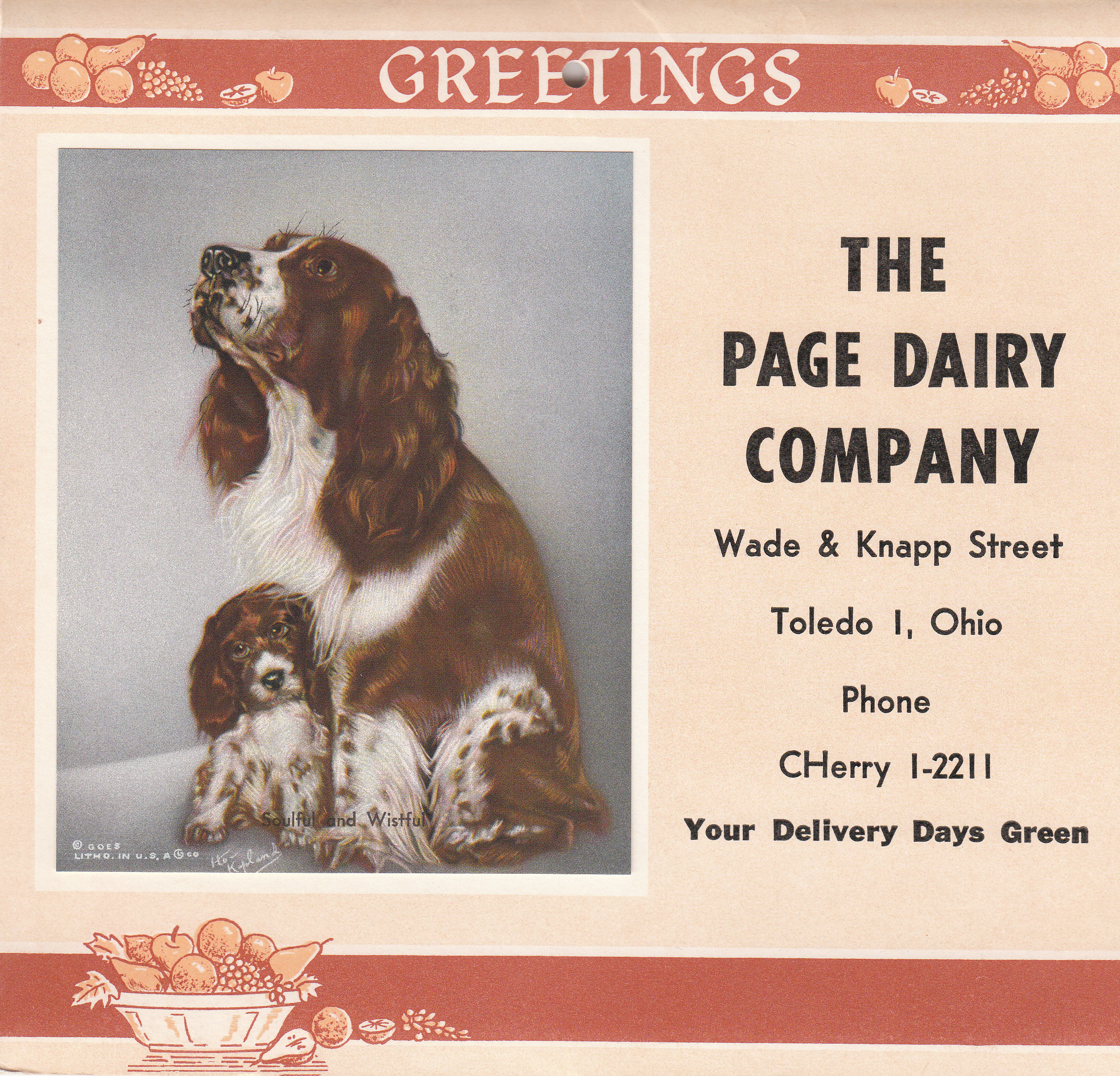 Page Dairy Calendar 1961