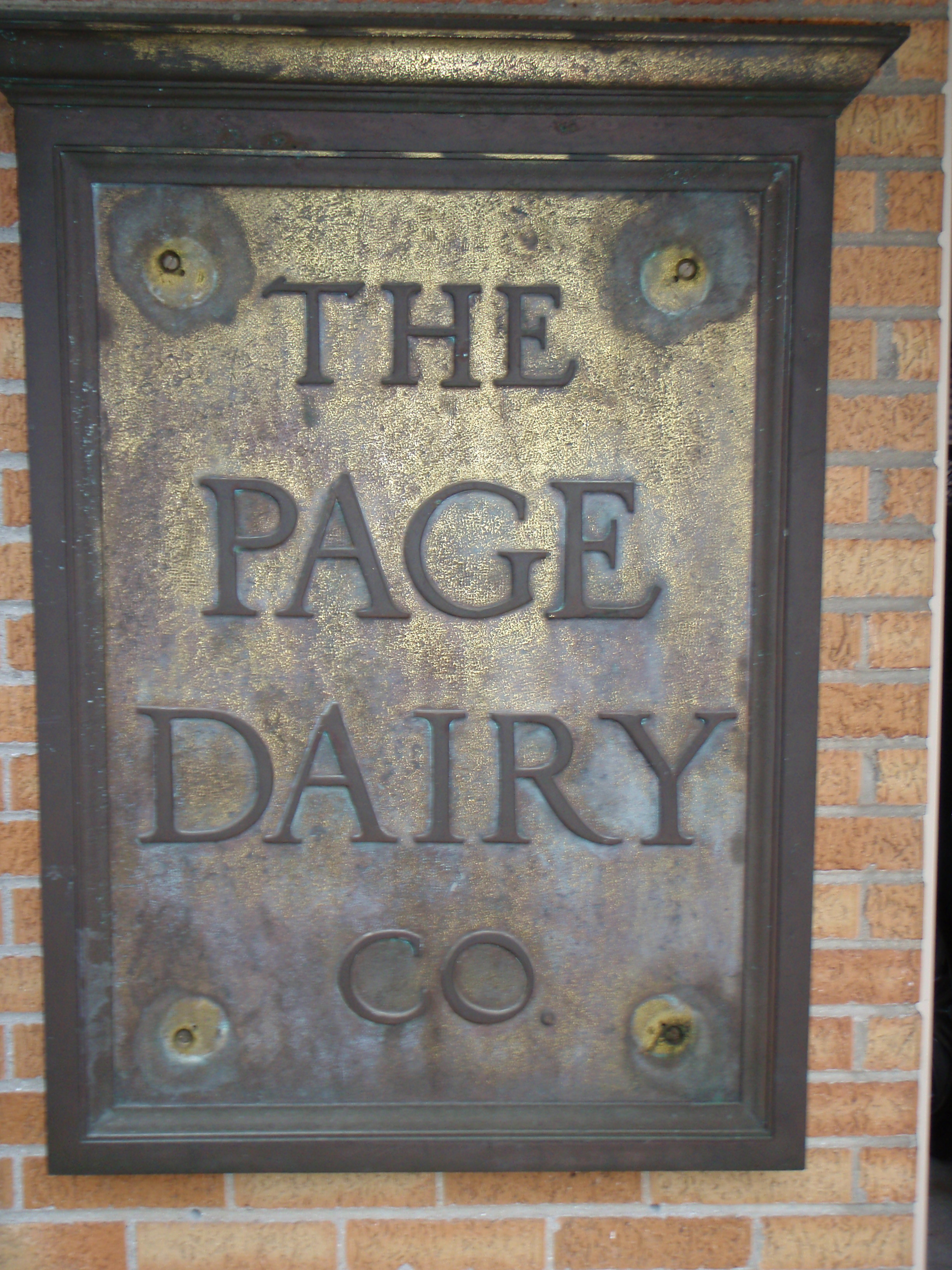Page Dairy Company Large Brass sign