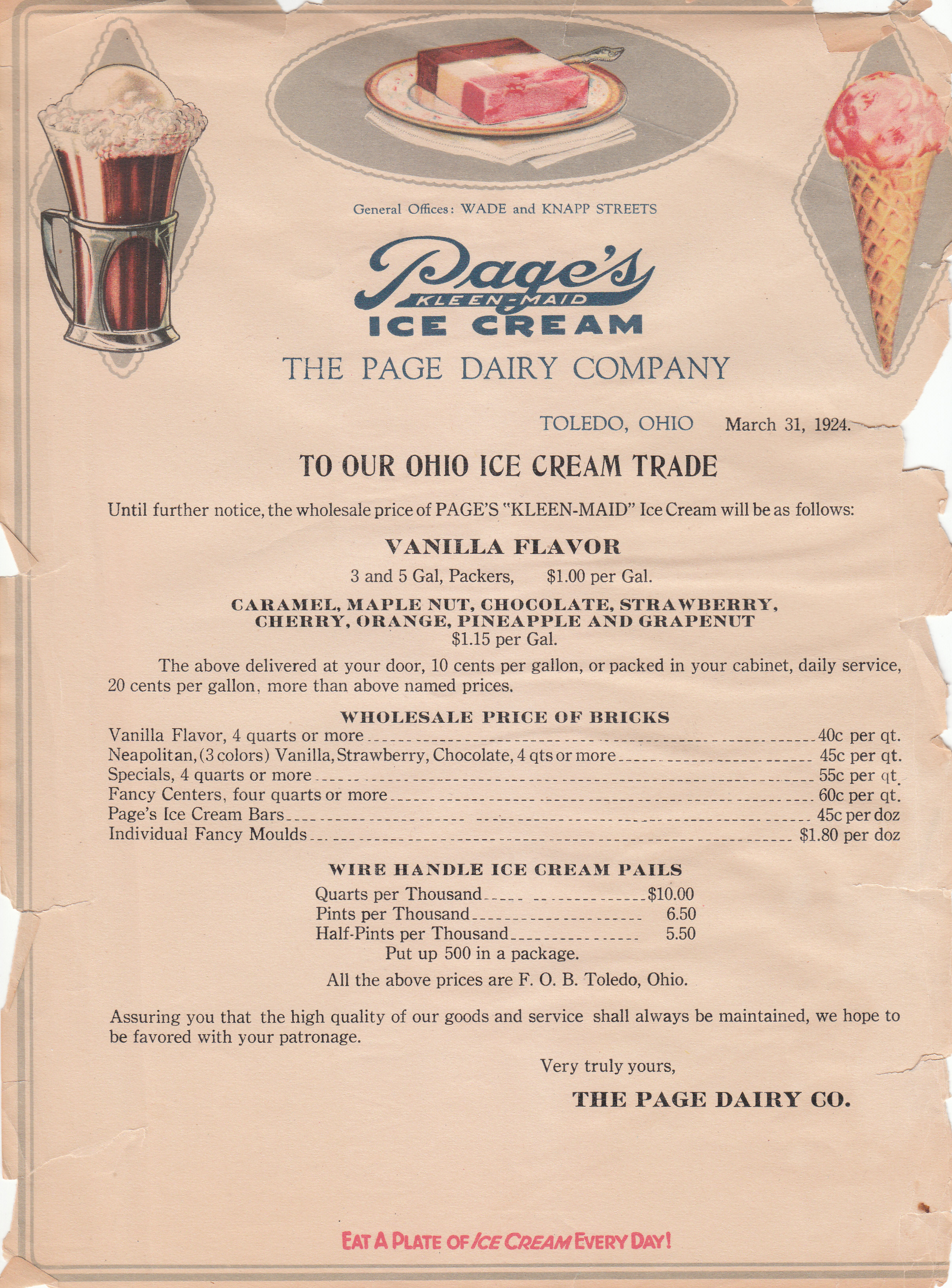 Page Dairy Ice Cream Price List 1924