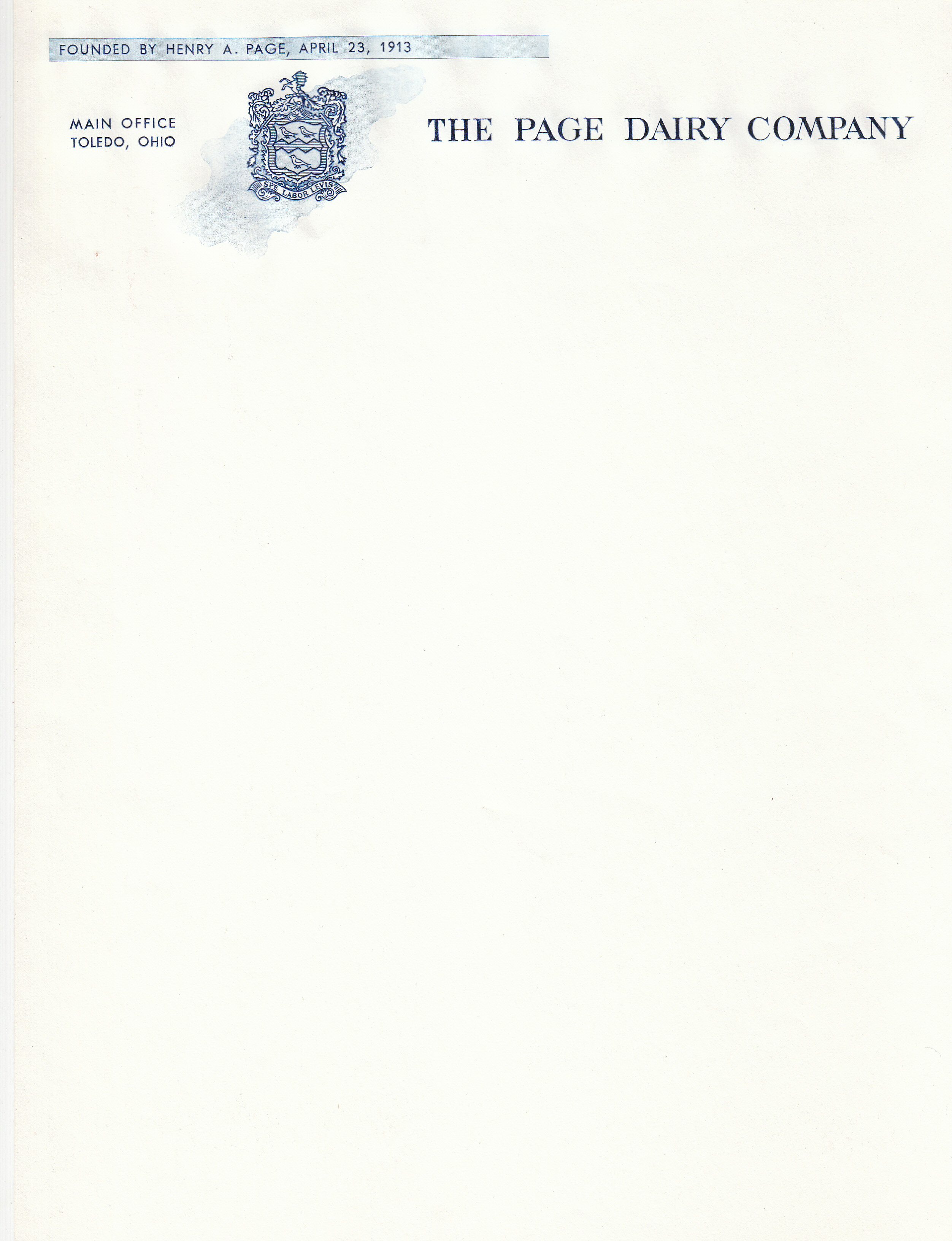 Page Dairy Letterhead
