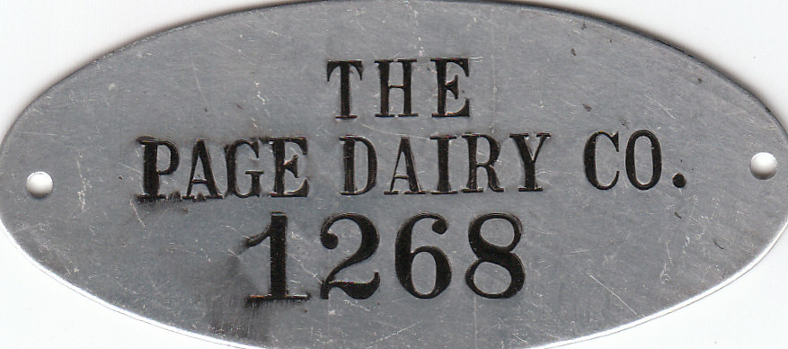 Page Dairy Metal Tag
