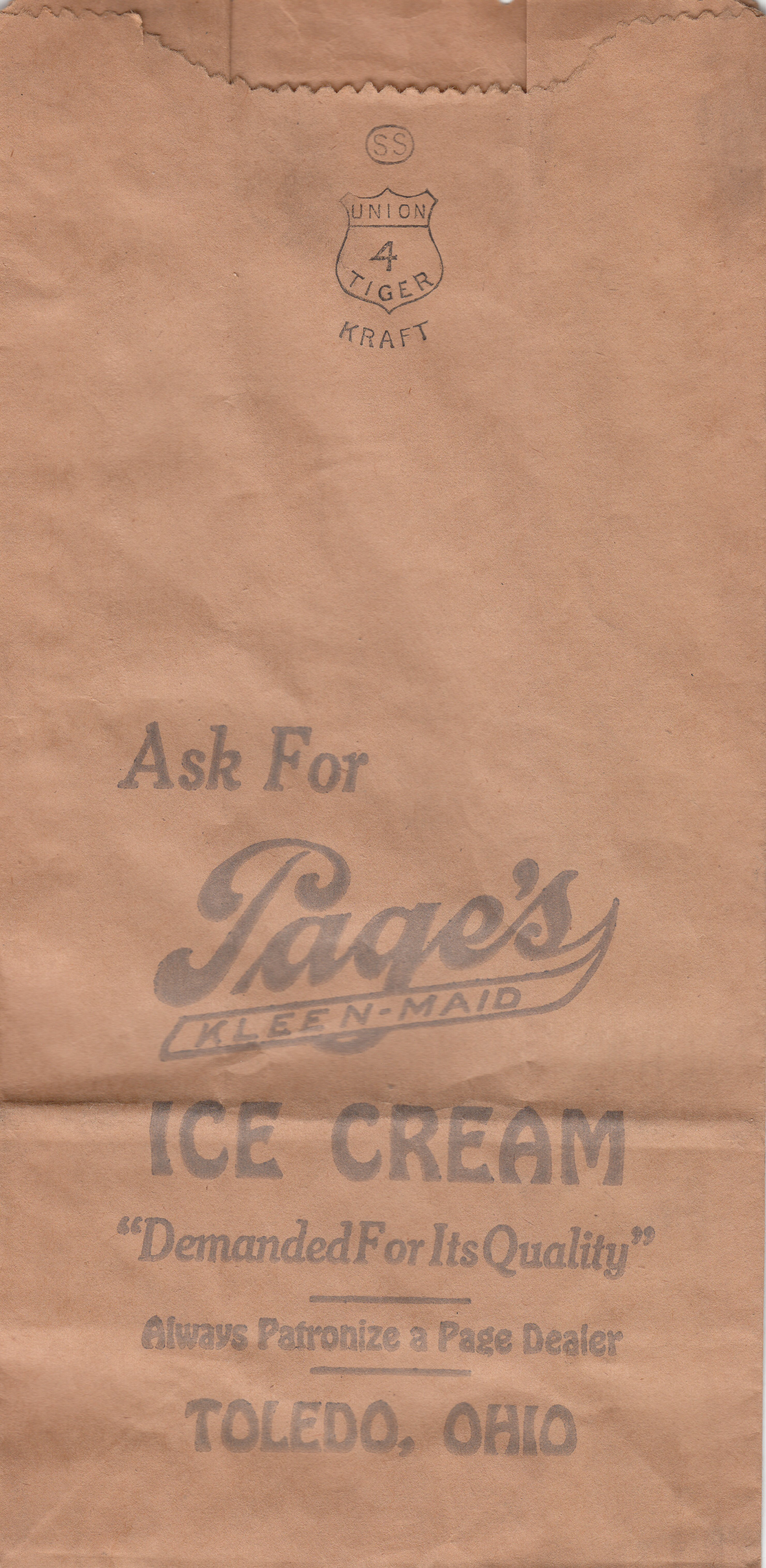 Page Dairy Paper Ice Cream bag
