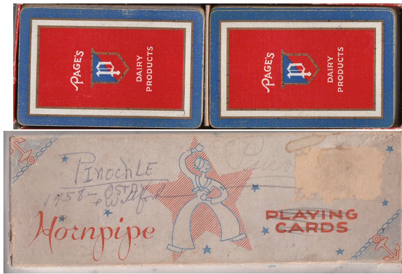 Page Dairy Pinochle Playing Cards - Red