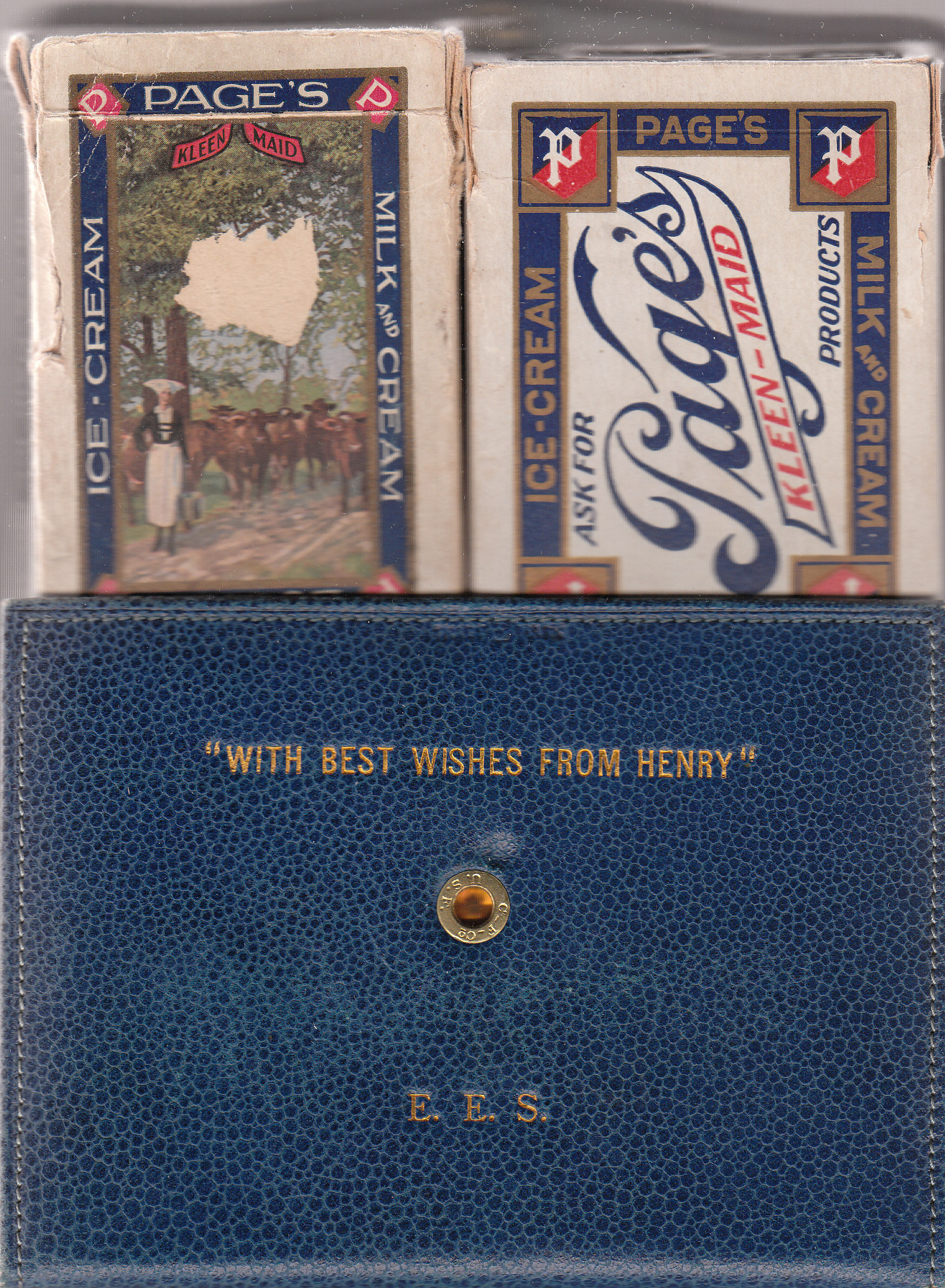Page Dairy Playing Cards - Blue Case