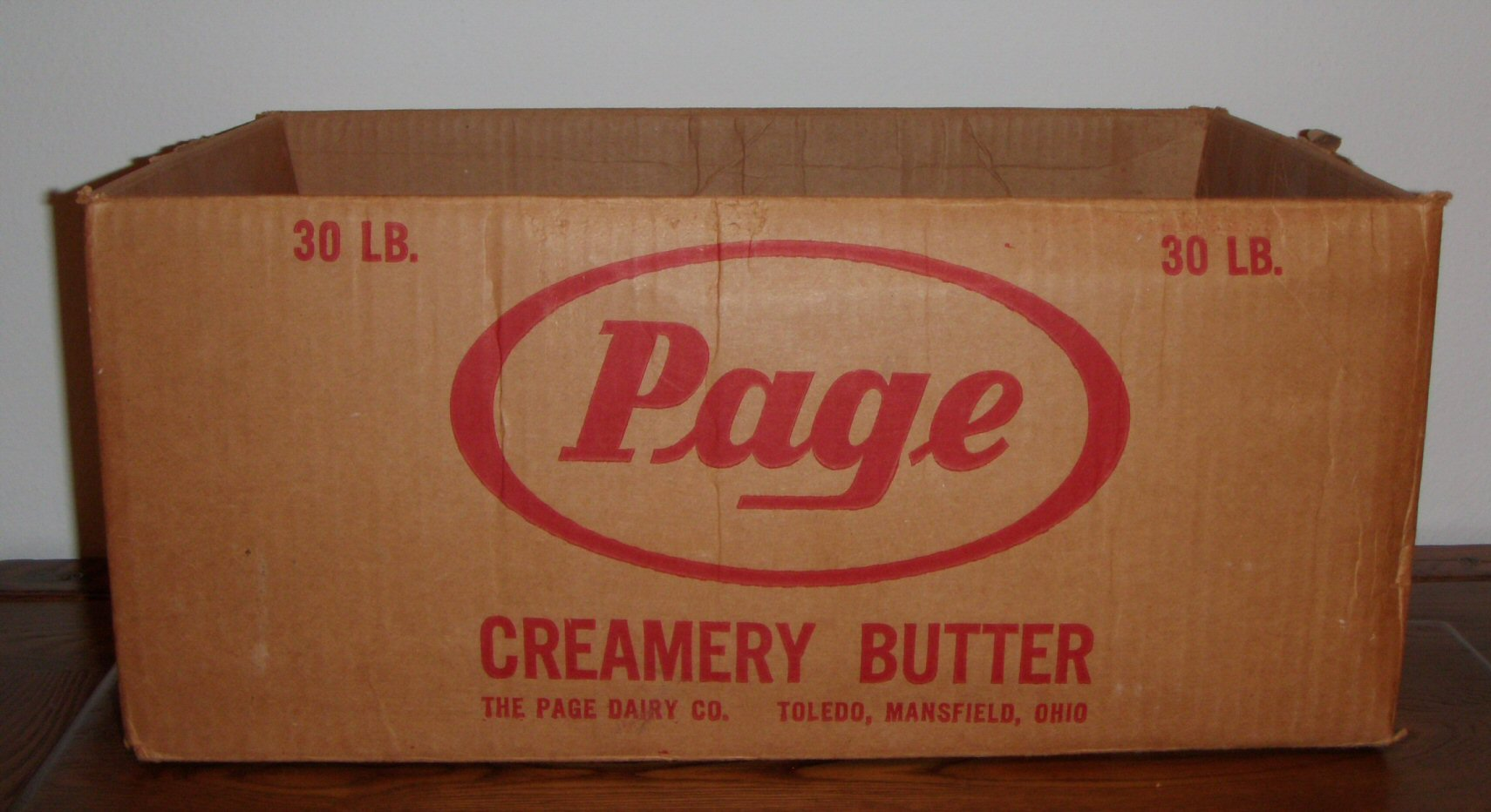 Page Dairy Creamery Butter Cardboard Box