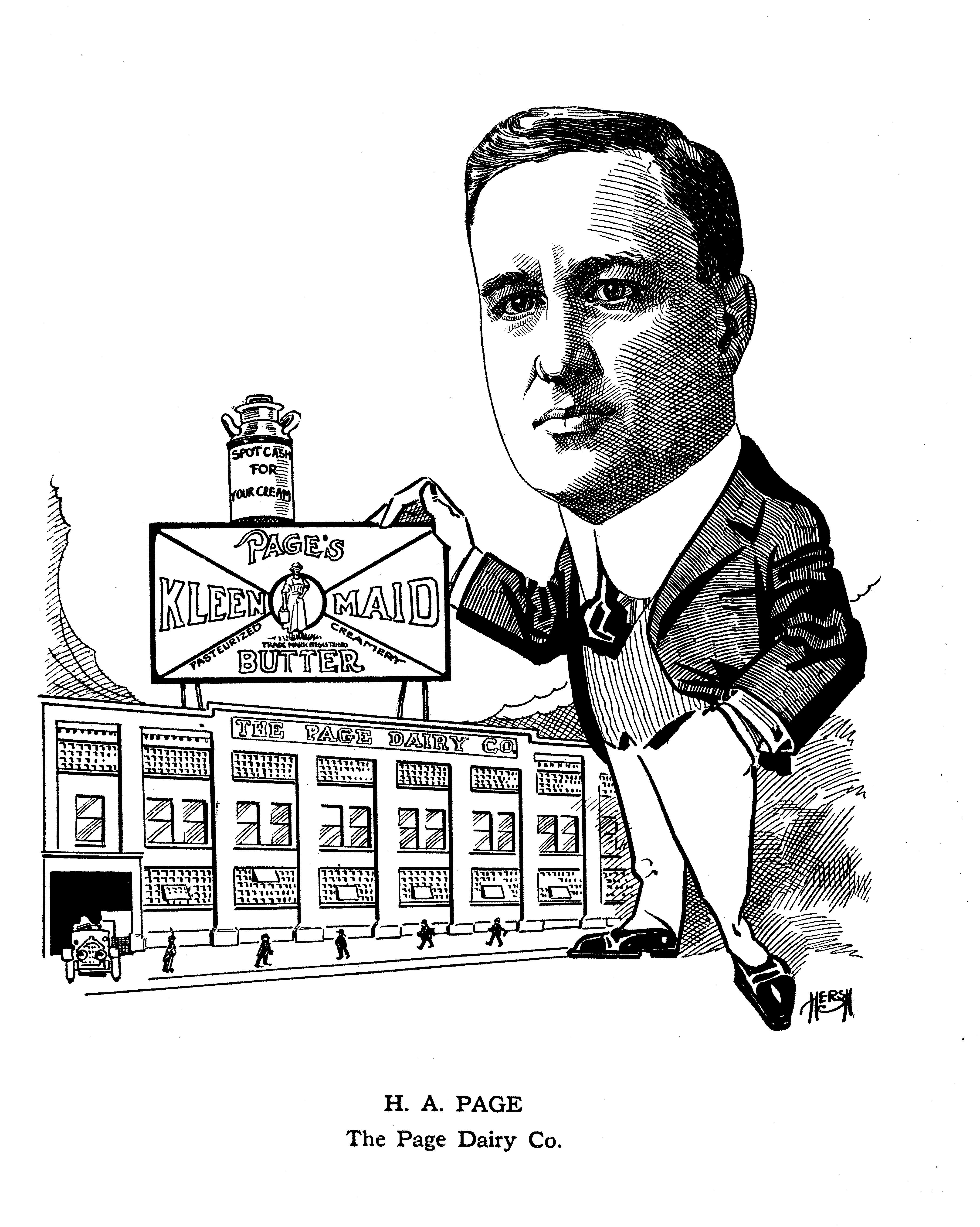 Henry A Page caricature from Toledo Club book